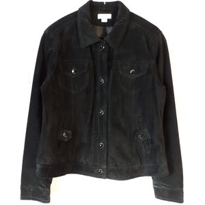 Black Suede Jacket Jewelled Buttons Size Medium